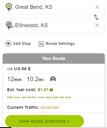 Mapquest Mileage Route