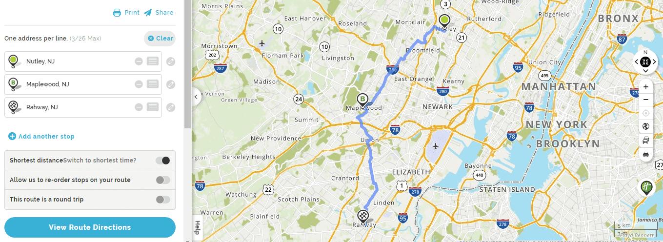 Mapquest trip planner