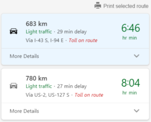 bing maps driving directions route planner menu