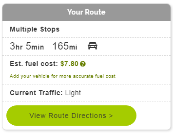 Mapquest Multiple Stops settings